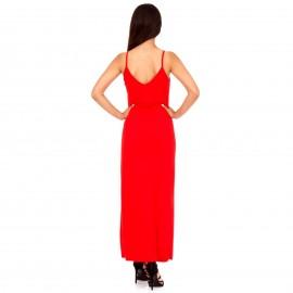 Κόκκινο Maxi Φόρεμα με Κουμπιά και Άνοιγμα Μπροστά