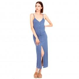 Σιέλ Maxi Φόρεμα με Κουμπιά και Άνοιγμα Μπροστά