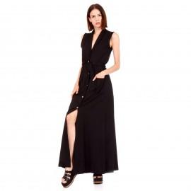 Μαύρο Αμάνικο Maxi Φόρεμα με Κουμπιά και Τσέπες