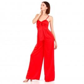Κόκκινη Σατέν Ολόσωμη Φόρμα με Φιόγκο