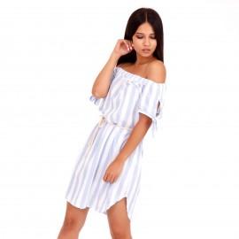 Ριγέ Strapless Mini Φόρεμα