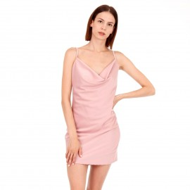 Ρόζ Σατέν Mini Φόρεμα με Ανοιχτή Πλάτη