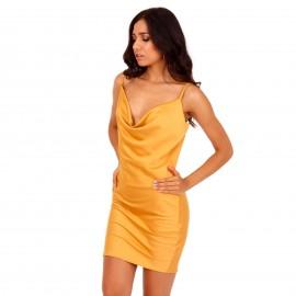 Κίτρινο Σατέν Mini Φόρεμα με Ανοιχτή Πλάτη