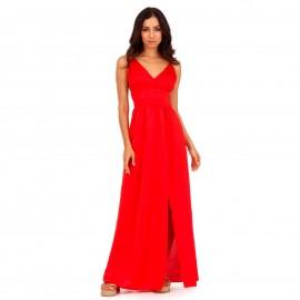 Κόκκινο Maxi Σατέν Φόρεμα με Ανοιχτή Πλάτη και Σκίσιμο στο Πλάι