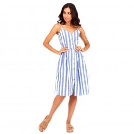 Ριγέ Midi Φόρεμα με Κουμπιά και Τσέπες