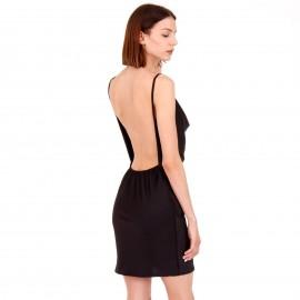 Μαύρο Σατέν Mini Φόρεμα με Ανοιχτή Πλάτη