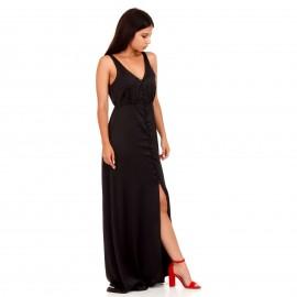 Μαύρο Maxi Σατέν Φόρεμα με Κουμπιά