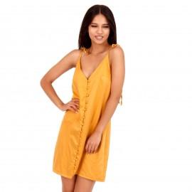 Κίτρινο Mini Σατέν Φόρεμα με Κουμπιά