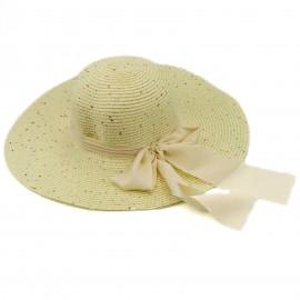 Ψάθινο Καπέλο με Παγέτες και Φιόγκο