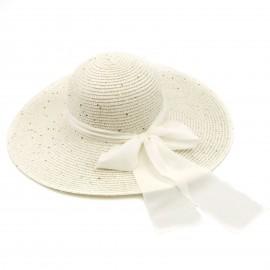 Ψάθινο Καπέλο με Παγέτες και Φιόγκο στο Χρώμα της 'Αμμου