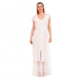 Λευκό Maxi Φόρεμα με Δαντέλα Κιπούρ