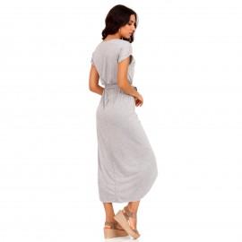 Γκρι Maxi Φόρεμα με Ζωνάκι