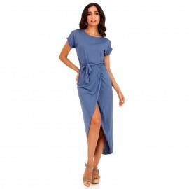Μπλε Maxi Φόρεμα με Ζωνάκι