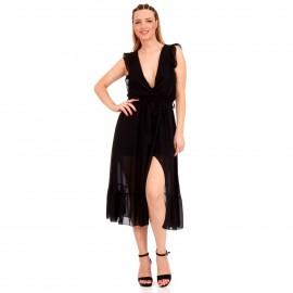 Μαύρο Midi Φόρεμα με C - Throu Λεπτομέρειες και Βολάν