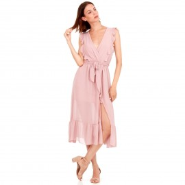 Ρόζ Midi Φόρεμα με C - Throu Λεπτομέρειες και Βολάν
