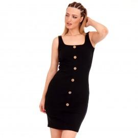 Μαύρο Ripped Mini Φόρεμα με Κουμπιά
