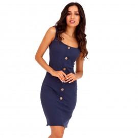 Μπλε Ripped Mini Φόρεμα με Κουμπιά