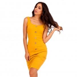 Κίτρινο Ripped Mini Φόρεμα με Κουμπιά