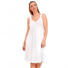 Λευκό Midi Φόρεμα με Φιόγκο στο Μανίκι