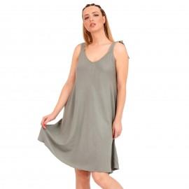 Χακί Midi Φόρεμα με Φιόγκο στο Μανίκι
