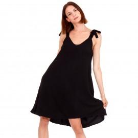Μαύρο Midi Φόρεμα με Φιόγκο στο Μανίκι