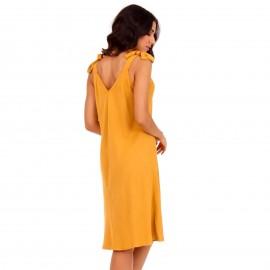 Κίτρινο Midi Φόρεμα με Φιόγκο στο Μανίκι