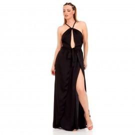 Μαύρο Maxi Πολυμορφικό Σατέν Φόρεμα
