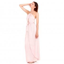 Ρόζ Maxi Πολυμορφικό Σατέν Φόρεμα