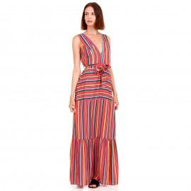 Ρόζ Maxi Φόρεμα με Πολύχρωμες Ρίγες