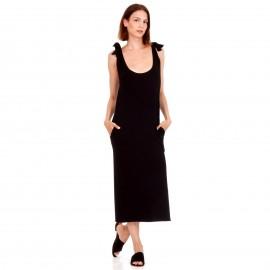 Μαύρο Maxi Φόρεμα με Φιόγκο στο Μανίκι