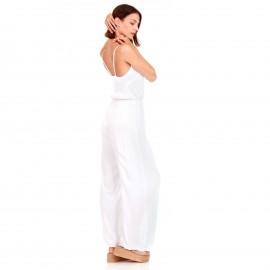 Λευκή Αμάνικη Ολόσωμη Φόρμα με Κουμπιά