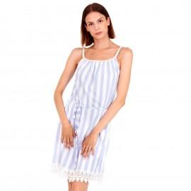 Γαλάζιο Ριγέ Midi Φόρεμα με Δαντέλα