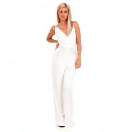 Λευκή Αμάνικη Ολόσωμη Φόρμα Κρουαζέ με Διακοσμητικό Κρίκο