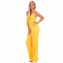 Κίτρινη Αμάνικη Ολόσωμη Φόρμα Κρουαζέ με Διακοσμητικό Κρίκο