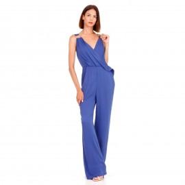 Μπλε Ρουά Αμάνικη Ολόσωμη Φόρμα Κρουαζέ με Διακοσμητικό Κρίκο