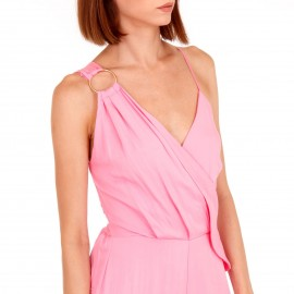 Ρόζ Αμάνικη Ολόσωμη Φόρμα Κρουαζέ με Διακοσμητικό Κρίκο