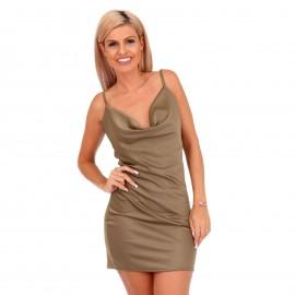 Χακί Σατέν Mini Φόρεμα με Ανοιχτή Πλάτη