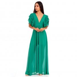 Πράσινο Maxi Φόρεμα με Φραμπαλά στα Μανίκια