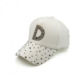 Λευκό Καπέλο Jockey με Τρουκς