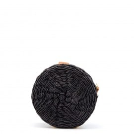 Μαύρο Ψάθινο Στρογγυλό Τσαντάκι Χιαστί