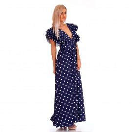 Μπλε Πουά Maxi Φόρεμα με Φραμπαλά στα Μανίκια