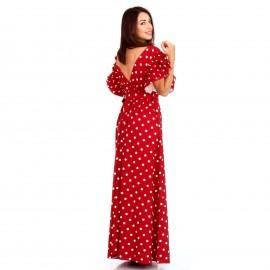 Κόκκινο Πουά Maxi Φόρεμα με Φραμπαλά στα Μανίκια
