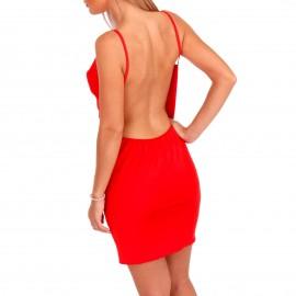 Κόκκινο Σατέν Mini Φόρεμα με Ανοιχτή Πλάτη