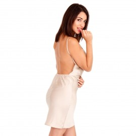 Χρυσό Σατέν Mini Φόρεμα με Ανοιχτή Πλάτη