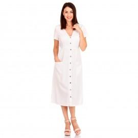 Λευκό Midi Φόρεμα με Κουμπιά