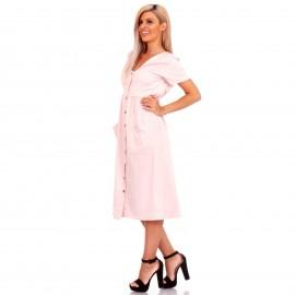 Ρόζ Midi Φόρεμα με Κουμπιά