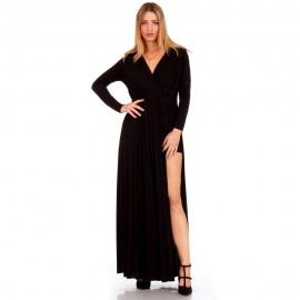 dbf778032ebb Μαύρο Maxi Φόρεμα με Εσωτερικό Σορτς και Σκίσιμο στο Πλάι drs-61610 (blk) - Silia  D