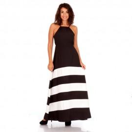 Μαύρο Αμάνικο Maxi Φόρεμα με Λευκές Ρίγες