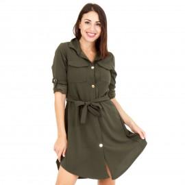 Χακί Mini Φόρεμα με Κουμπιά