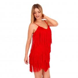 Κόκκινο Mini Φόρεμα με Κρόσσια και Ανοιχτή Πλάτη